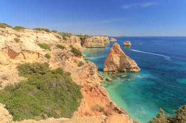 Praia da Marinha near Lagoa at the rocky coast of the Algarve