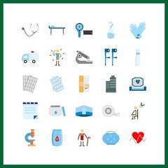 25 medical icon. Vector illustration medical set. cardiogram and wheelchair icons for medical works