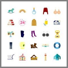 vintage vector icons set. carousel, greeting tablo, shopping tool and blue trousers in this set.
