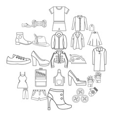 Sewing of footwear icons set. Outline set of 25 sewing of footwear vector icons for web isolated on white background