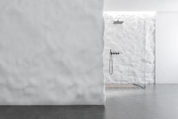 Crude wall bathroom shower, mock up wall