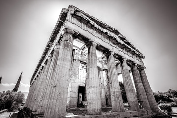 Temple of Hephaestus in black and white, Athens, Greece