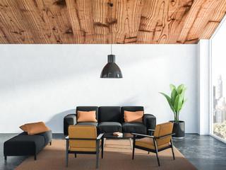 White living room interior, black sofa