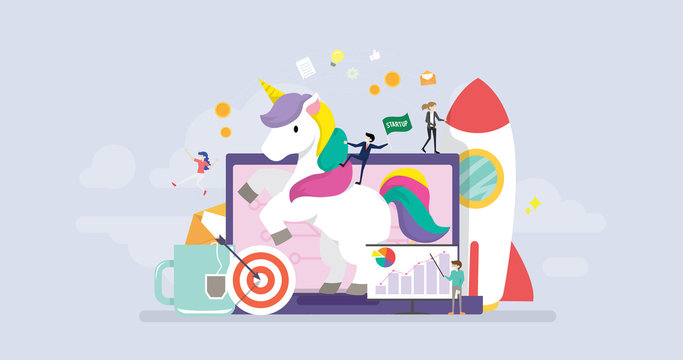 Unicorn Business Startup Tiny People Character Concept Vector Illustration, Suitable For Wallpaper, Banner, Background, Card, Book Illustration, And Web Landing Page