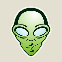 Green Alien Head Cartoon Icon Vector Illustration