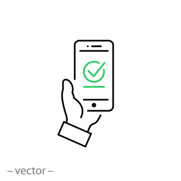 Payment approved icon, green checkmark on smartphone linear sign isolated on white background - editable illustration eps10