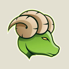 Green Aries or Ram Cartoon Icon Vector Illustration