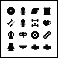 part vector icons set. chassis, motor, watch glass and chocolate in this set.