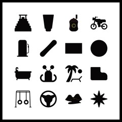 16 travel icon. Vector illustration travel set. pyramid and sunbed icons for travel works