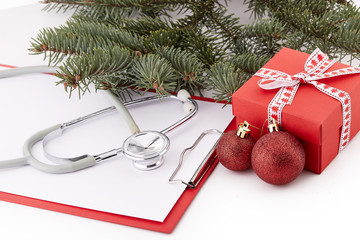 Stethoscope and Christmas decorations.