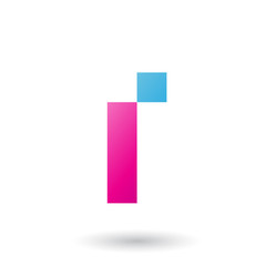 Magenta Letter I with Rectangular Shapes Vector Illustration