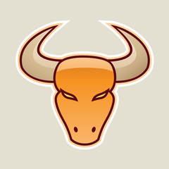 Orange Strong Bull Icon Vector Illustration