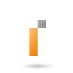 Orange Letter I with Rectangular Shapes Vector Illustration