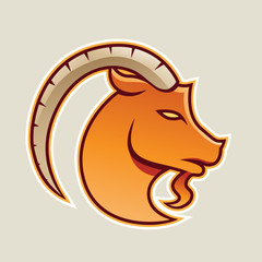 Orange Goat wıth a Long Horn Icon Vector Illustration