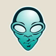 Persian Green Alien Head Cartoon Icon Vector Illustration