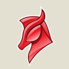 Red Glossy Horse Head Icon Vector Illustration