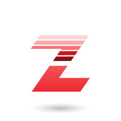 Red Sliced Letter Z with Thick Horizontal Stripes Vector Illustration
