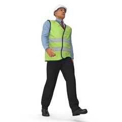 Construction Architect in Yellow Jacket Walking Pose Isolated. 3D illustration
