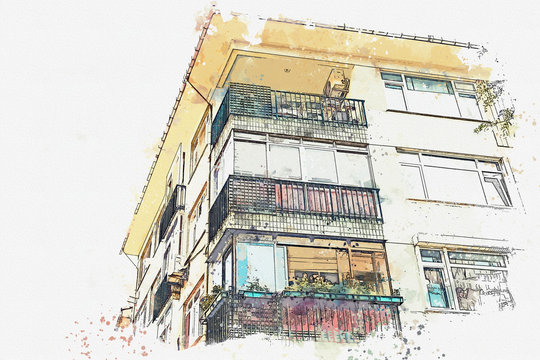 A watercolor sketch or illustration of a traditional apartment house in Istanbul, Turkey.