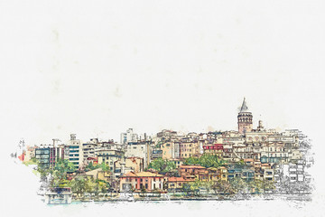 A watercolor sketch or illustration of a beautiful view of the traditional architecture in Istanbul, Turkey.