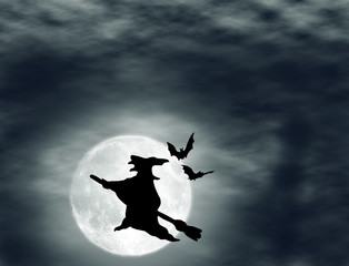 halloween background with witch on broom on the full moon