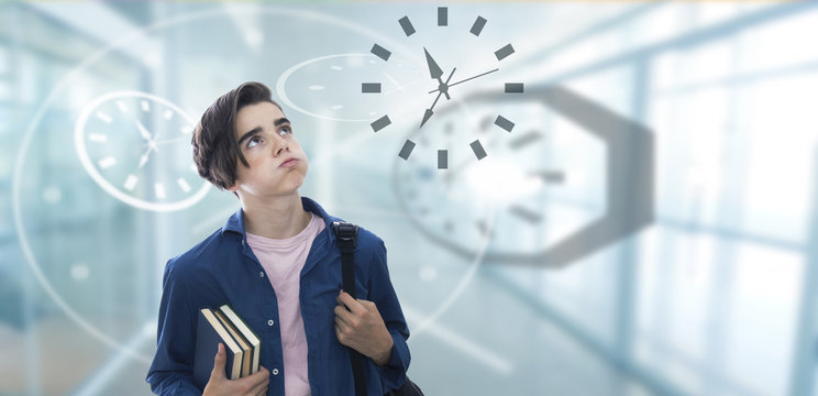 school hours, stressful student watching the clock