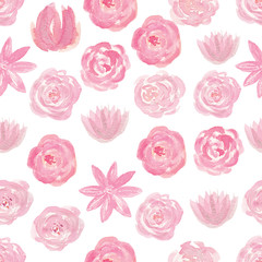 Watercolor pink seamless pattern with flowers, hand drawn background