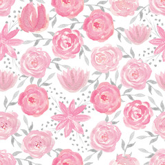 Seamless pattern with hand painted watercolor roses in pastel pi