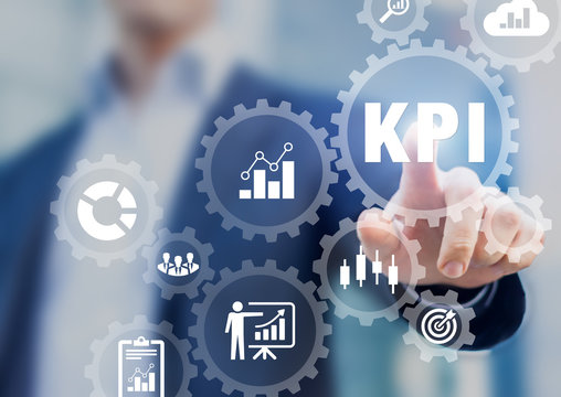 KPI Key Performance Indicators presentation, business development strategy, metrics measuring production, sales, efficiency against planned targeted achievements, BI consultant touching icons