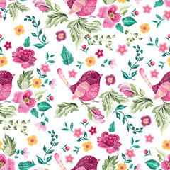 Embroidery traditional floral seamless pattern with birds and roses.