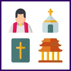 holy icon. church and religious vector icons in holy set. Use this illustration for holy works.