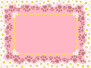 Summer spring pink frame background with daisies and animal paw prints and copy space for your text.