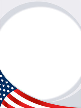 USA abstract flag round border background with empty space for your text.