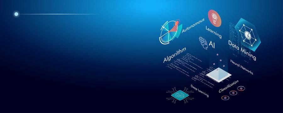 Machine learning, Ai, Data mining, algorithm, algorithm, neural network, deep learning and autonomous. isometric vector concept.