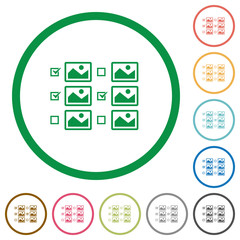 Multiple image selection with checkboxes flat icons with outlines