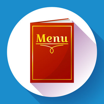 Cafe, restaurant red menu book icon in flat style. Paper menu with inscription. Vector illustration.