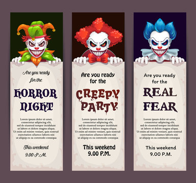 Halloween celebration event banners with scary clown faces.