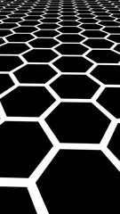 White honeycomb on a black background. Perspective view on polygon look like honeycomb. Isometric geometry. Vertical image orientation. 3D illustration