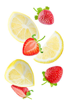 Flying Lemon slices with strawberry slices