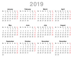 2019 year annual calendar (Monday first, English)