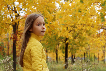 little girl model posing in autumn forest, child playing in Park
