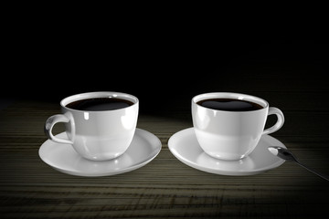 3d Illustration two cups of coffee on a dark background
