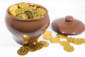 Isolated pot with golden coins. Abstract photo of lucky