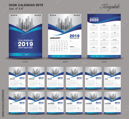 Quot Desk Calendar 2019 Year Size 6 X 8 Inch Template Blue