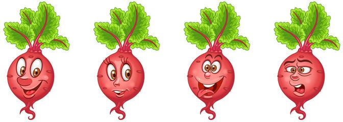 Beet. Beetroot. Vegetable food. Emoji emoticon collection.