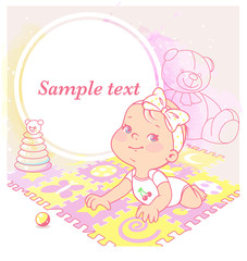 cute little girl laying on playing mat. Bright puzzle mat on watercolor background. Happy toddler. Blank text frame. Preset for blog. Template for mother's page  in social media. Vector illustration.