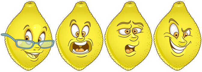 Lemon fruit. Food emoji emoticon collection.