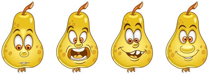 Pear fruit. Food emoji emoticon collection.