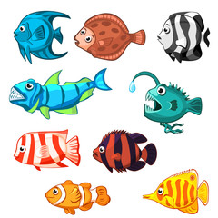 Set of vector cartoon fishes