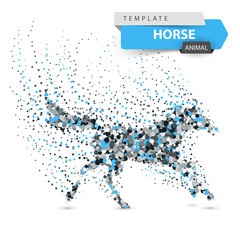 Beautiful horse - abstract dot illustration. Vector eps 10